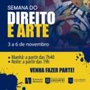 Semana do Direito e Arte será realizada em novembro, a partir do dia 03
