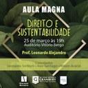 Aula Magna do curso de Direito abordará Direito e Sustentabilidade