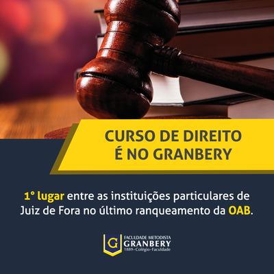 Direito do Granbery é o melhor entre instituições particulares de Juiz de Fora, aponta OAB