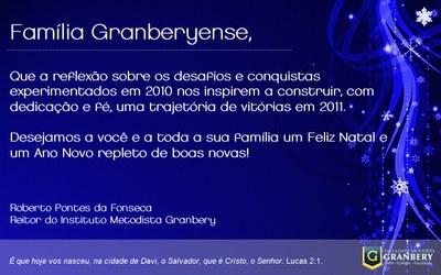 FUNCIONAMENTO DO GRANBERY DURANTE AS FESTAS DE FIM DE ANO