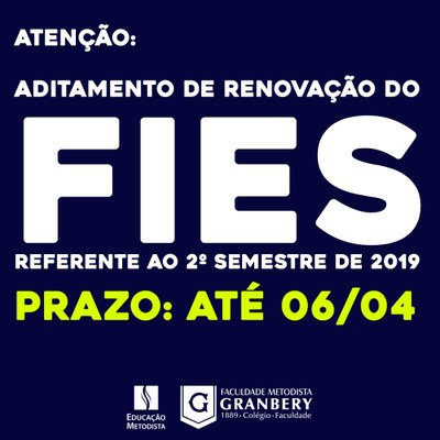 Novo FIES - Aditamento de renovação do FIES referente ao 2º semestre de 2019