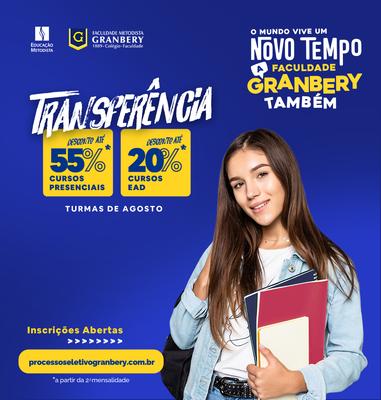 Transferências para graduação presencial e EAD têm descontos no Granbery